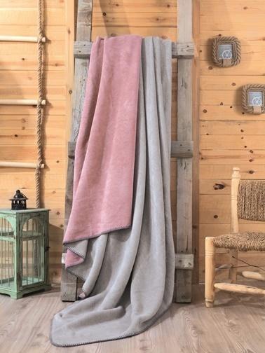Cotton Box Çift Kisilik Pamuklu Battaniye Gülkurusu-Gri Renkli